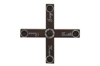 (Joy, Faith, Hope, Peace) - Cathedral Art AD131 Diameter Joy Faith Hope Peace Wood Cross Advent Candleholder Wreath, 20cm