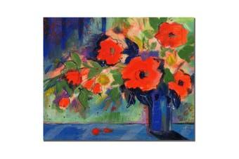 (46cm  x 60cm ) - Trademark Fine Art Cobalt Vase with Red Blooms by Sheila Golden, 46cm x 60cm