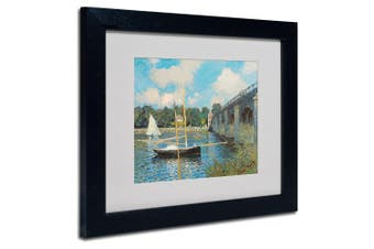(28cm  by 36cm ) - Trademark Fine Art The Bridge at Argenteuil Canvas Wall Art by Claude Monet with Black Frame, 28cm by 36cm