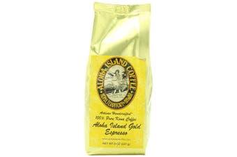Aloha Island Coffee Espresso Organic 100% Pure Kona Coffee, 240ml Ground, 240mls