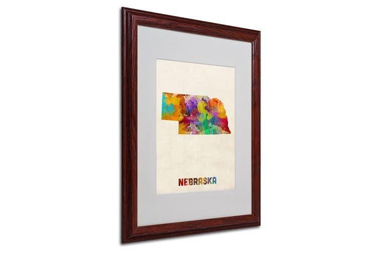 (41cm  by 50cm ) - Trademark Fine Art Nebraska Map Matted Framed Art by Michael Tompsett in Wood Frame, 41cm by 50cm