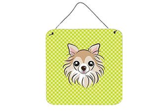 (15cm  x 15cm ) - Caroline's Treasures Checkerboard Lime Green Chihuahua Wall or Door Hanging Prints, 15cm x 15cm