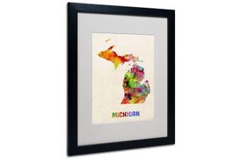 (41cm  by 50cm ) - Trademark Fine Art Michigan Map Matted Framed Art by Michael Tompsett in Black Frame, 41cm by 50cm