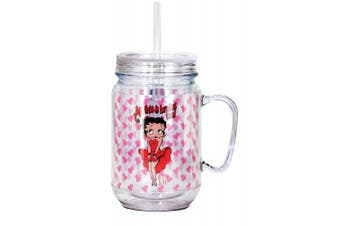 Betty Boop Brains Mason Jar, Red