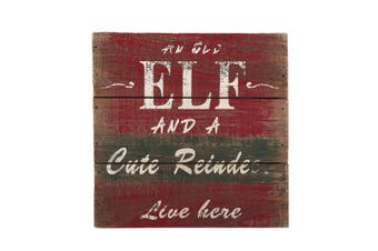 (15cm  by 15cm ) - Attraction Design an Old Elf and A Cute Reindeer Liveere Christmas Decoration Wall Art, 15cm by 15cm