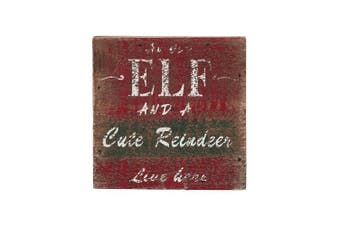 (30cm  by 30cm ) - Attraction Design an Old Elf and A Cute Reindeer Liveere Christmas Decoration Wall Art, 30cm by 30cm