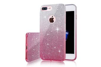 (iPhone 6 Plus/6S Plus, Silver and Pink) - iPhone 6 Plus Case,Inspirationc 3 Layer Hybrid Semi-transparent Soft Bling Crystal Diamond Cover Case for iPhone 6 Plus/6S Plus 14cm --Silver and Pink