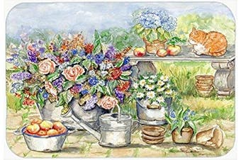 Caroline's Treasures APH3567LCB Patio Bouquet And Cat Glass Cutting Board, Large, Multicolor
