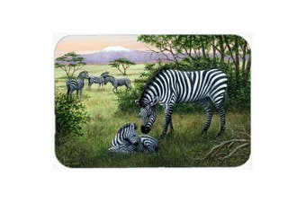 "Caroline's Treasures BDBA0385LCB ""Zebras in the Field with Baby"" Glass Cutting Board, Large, Multicolor"