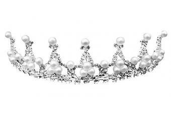 (Pearl) - AshopZ Kids Sweet Crystal Tiara Crown for Flower Girls Bridesmaid, Pearl