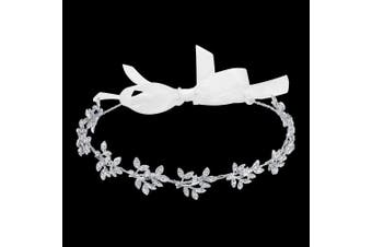 (Style-2) - BABEYOND Bridal Headpiece Handmade Brdial Headbands for Wedding Party Crystal Floral Leaf with Lace Ribbon