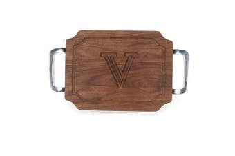 "(V) - BigWood Boards W300-SPOL-V Bar/Cheese Board with Square Polished Aluminium Handle with Scalloped Corners, 23cm by 30cm by 1.9cm , Monogrammed ""V"", Walnut"