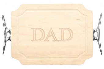 "(Dad) - BigWood Boards 300-SCLT-DAD Bar/Cheese Board with Boat Cleat Cast Aluminium Handle with Scalloped Corners, 23cm by 30cm by 1.9cm , Monogrammed ""DAD"", Maple"