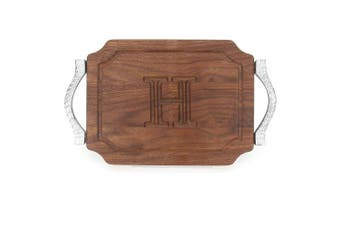 "(H) - BigWood Boards W300-RP-H Bar/Cheese Board with Rope Handle in Cast Aluminium with Scalloped Corners, 23cm by 30cm by 1.9cm , Monogrammed ""H"", Walnut"