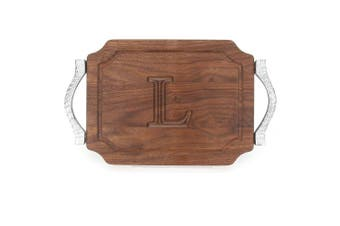 "(L) - BigWood Boards W300-RP-L Bar/Cheese Board with Rope Handle in Cast Aluminium with Scalloped Corners, 23cm by 30cm by 1.9cm , Monogrammed ""L"", Walnut"