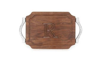 "(R) - BigWood Boards W300-RP-R Bar/Cheese Board with Rope Handle in Cast Aluminium with Scalloped Corners, 23cm by 30cm by 1.9cm , Monogrammed ""R"", Walnut"