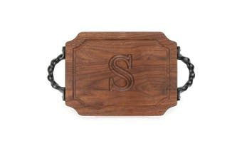 "(S) - BigWood Boards W300-STWS-S Bar/Cheese Board with Twisted Square End Handle with Scalloped Corners, 23cm by 30cm by 1.9cm , Monogrammed ""S"", Walnut"