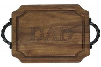 "(Dad) - BigWood Boards W300-STWS-DAD Bar/Cheese Board with Twisted Square End Handle with Scalloped Corners, 23cm by 30cm by 1.9cm , Monogrammed ""DAD"", Walnut"