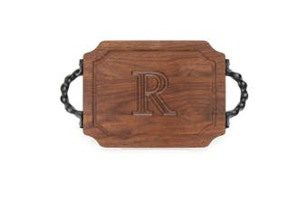 "(R) - BigWood Boards W300-STWS-R Bar/Cheese Board with Twisted Square End Handle with Scalloped Corners, 23cm by 30cm by 1.9cm , Monogrammed ""R"", Walnut"