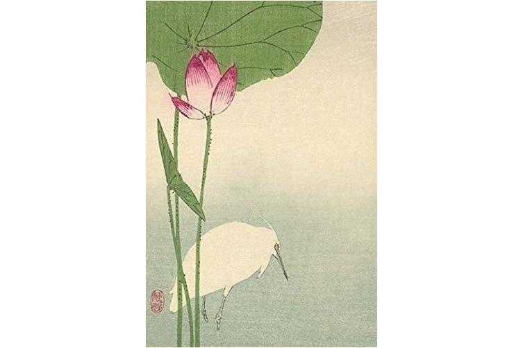 "Buyenlarge 0-587-23622-1-P1218 ""White Heron and Lotus"" Paper Poster, 30cm x 46cm"