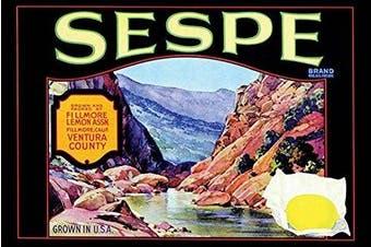 """Buyenlarge 0-587-21974-2-P1218 """"Sespe Brand Lemons"""" Paper Poster, 30cm x 46cm"""