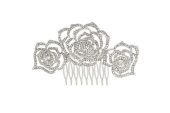 EVER FAITH® Silver-Tone Austrian Crystal Bridal 3 Rose Flowers Hollow-Out Hair Comb Clear