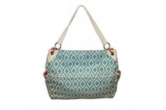 Caught Ya Lookin' Chic Nappy Bag, Aqua and White Triangles