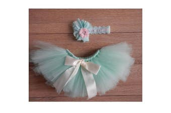 Graces Dawn Newborn Girl Baby Photo Photography Prop Headband and Tutu Skirt blue