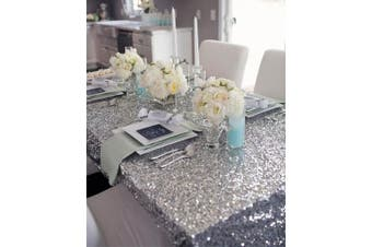 (130cm  x 130cm , Silver) - B-COOL 130cm x 130cm Square Silver Sequin Tablecloth Thanksgiving Tablecloth Sparkle Tablecloth Glitz Tablecloth Sequin Fabric Tablecloth