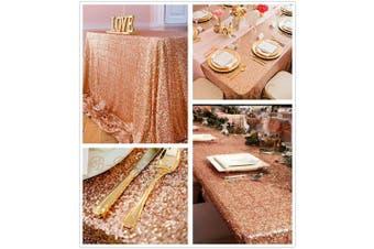 (230cm  x 340cm , Rose Gold) - B-COOL 230cm x 340cm rectangle Rose Gold sequin tablecloth Sparkle Tablecloth Glitz Tablecloth Sequin Fabric Tablecloth