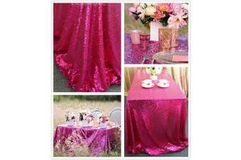 (230cm  x 340cm , Fuchsia) - B-COOL 230cm x 340cm rectangle Fuchsia sequin tablecloth Thanksgiving Tablecloth Sparkle Tablecloth Glitz Tablecloth