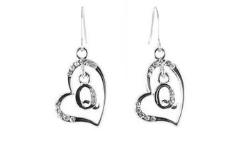 Clear Crystal on Silver Plated Initial Earrings - Q