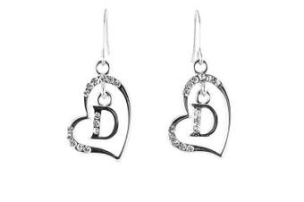 Clear Crystal on Silver Plated Initial Earrings - D