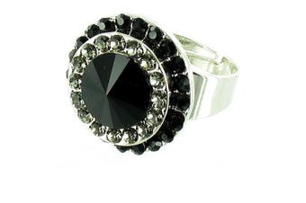 Black on Silver Plated Round Stone Cocktail Ring