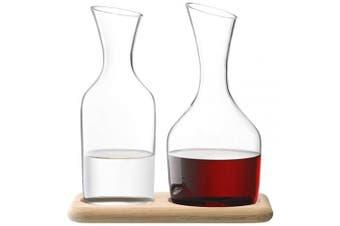 (Carafe Set & Oak Base 1.2L/1.4L, Clear/Oak) - LSA International G1166-00-991 Water & Wine Carafe Set & Oak Base, 1200ml1400ml, Clear