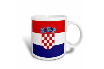 3dRose mug_158301_1 Flag of Croatia Croat Red White Blue Stripes Croatian Coat of Arms Shield Europe Country World Ceramic Mug, 330ml
