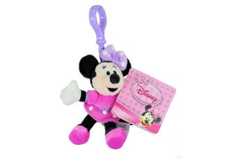 Officially Licenced - Disney Minnie Mouse 10cm Super Soft Plush Keyring Bag Clip