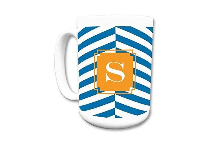 (Initial (K)) - Dabney Lee Perspective Mug with Single Initial, K, Multicoloured