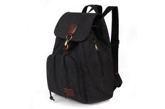 (Black 10) - Women Ladies Retro Canvas Backpack, WITERY Vintage Design Trendy Rucksack Casual Travel Shoulder Bag / Portable Handbag / College Daypack Backpack / Computer Laptop Bags Black