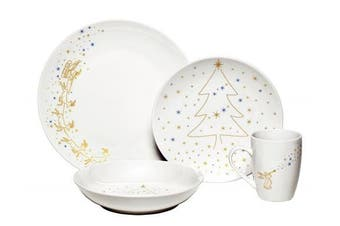 (Angels, 16 Pieces) - Melange Angels Christmas Ceramic 16-Piece Place Setting, Serving for 4