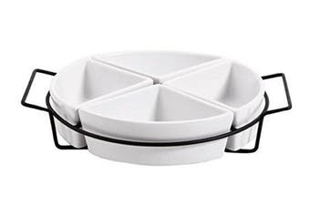 (Four Section Tray Set Ware with Metal Rack, White) - Gibson Gracious Dining Four Section Tray Set Ware with Metal Rack, White