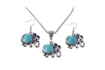 Turquoise Elephant Pendant & Drop Dangle Earrings Jewellery Set for Women