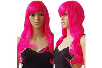 (60cm , Straight, hot pink) - S-noilite® Hot Pink Wigs For Women Full Head Wigs For Women Fancy Dress [ 60cm -Straight / Hot Pink ]