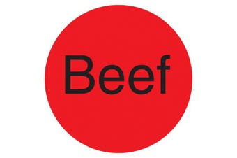 "(Beef, Fluorescent Red) - DayMark IT112006 DuraMark Permanent Circle Deli Label, ""Beef"", 2.5cm Diameter, Fluorescent Red (Roll of 1000)"