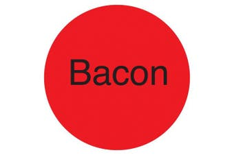 "(Bacon, Fluorescent Red) - DayMark IT111245 DuraMark Permanent Circle Deli Label, ""Bacon"", 2.5cm Diameter, Fluorescent Red (Roll of 1000)"