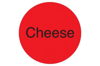 "(Cheese, Fluorescent Red) - DayMark IT111243 DuraMark Permanent Circle Deli Label, ""Cheese"", 2.5cm Diameter, Fluorescent Red (Roll of 1000)"