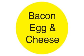 "(Bacon Egg & Cheese, Yellow) - DayMark IT111258 DuraMark Permanent Circle Deli Label, ""Bacon Egg & Cheese"", 2.5cm Diameter, Yellow (Roll of 1000)"
