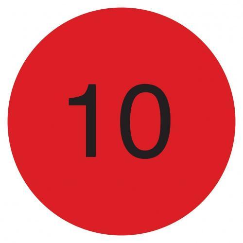 DayMark IT111245 DuraMark Permanent Circle Deli Label Roll of 1000 1 Diameter Fluorescent Red Bacon