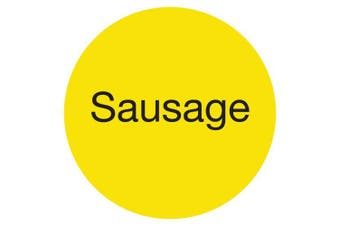 "(Sausage, Yellow) - DayMark IT111261 DuraMark Permanent Circle Deli Label, ""Sausage"", 2.5cm Diameter, Yellow (Roll of 1000)"
