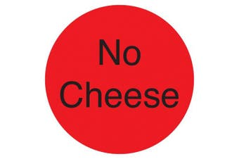 "(No Cheese, Fluorescent Red) - DayMark IT111238 DuraMark Permanent Circle Deli Label, ""No Cheese"", 2.5cm Diameter, Fluorescent Red (Roll of 1000)"